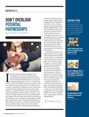 Page 6 of EDITOR'S NOTE Don't Overlook Potential Partnerships By Amanda Armendariz