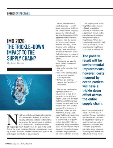 Page 8 of SPENDPERSPECTIVES IMO 2020: The Trickle-Down Impact to the Supply Chain? By John Haber