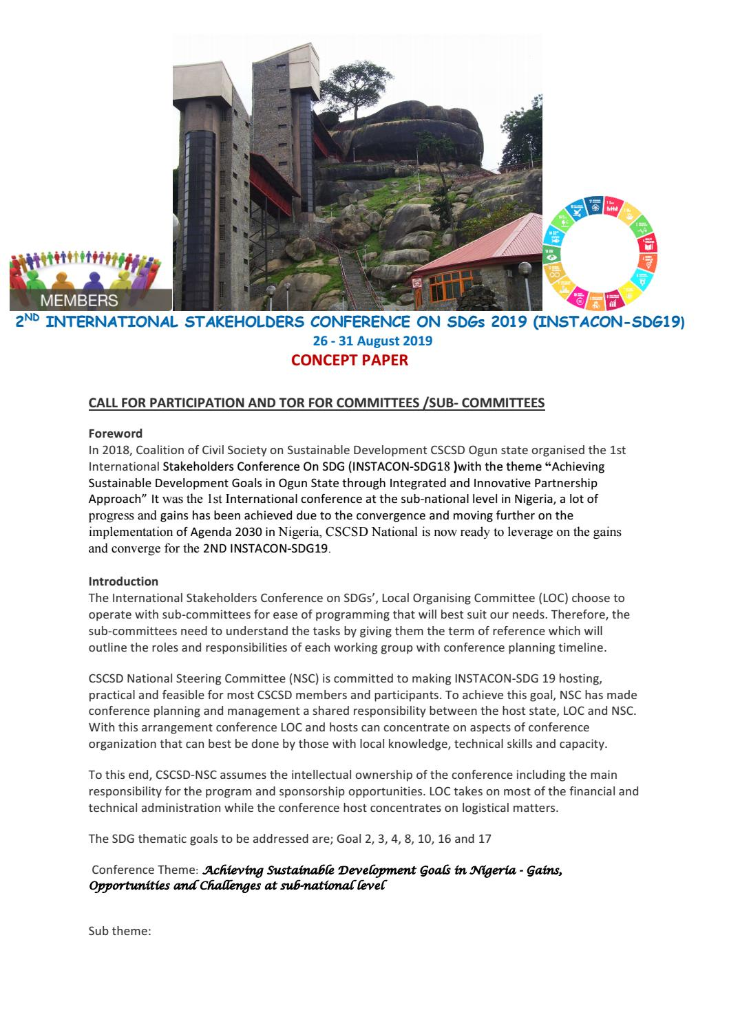 Call for Participation and TOR for Committees and Sub