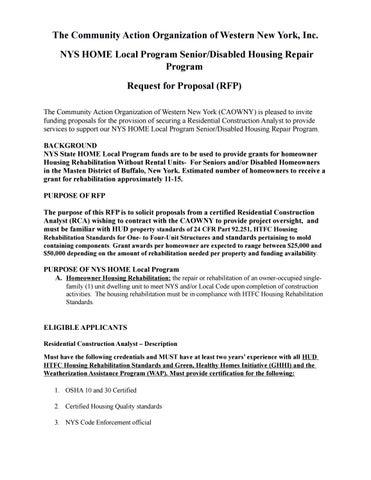 NYS HOME Local Program Senior/Disabled Housing Repair Program