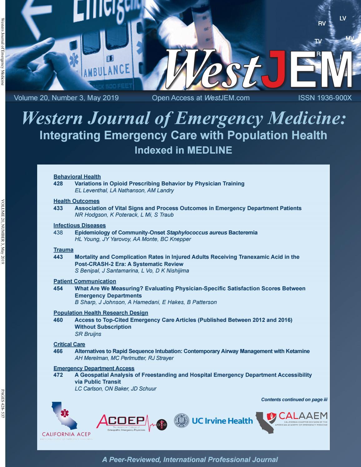 Volume 20 Issue 3 by Western Journal of Emergency Medicine