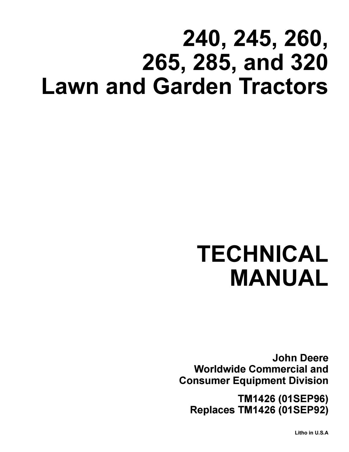 JOHN DEERE 285 LAWN AND GARDEN TRACTOR Service Repair Manual by 1635691 -  issuuIssuu
