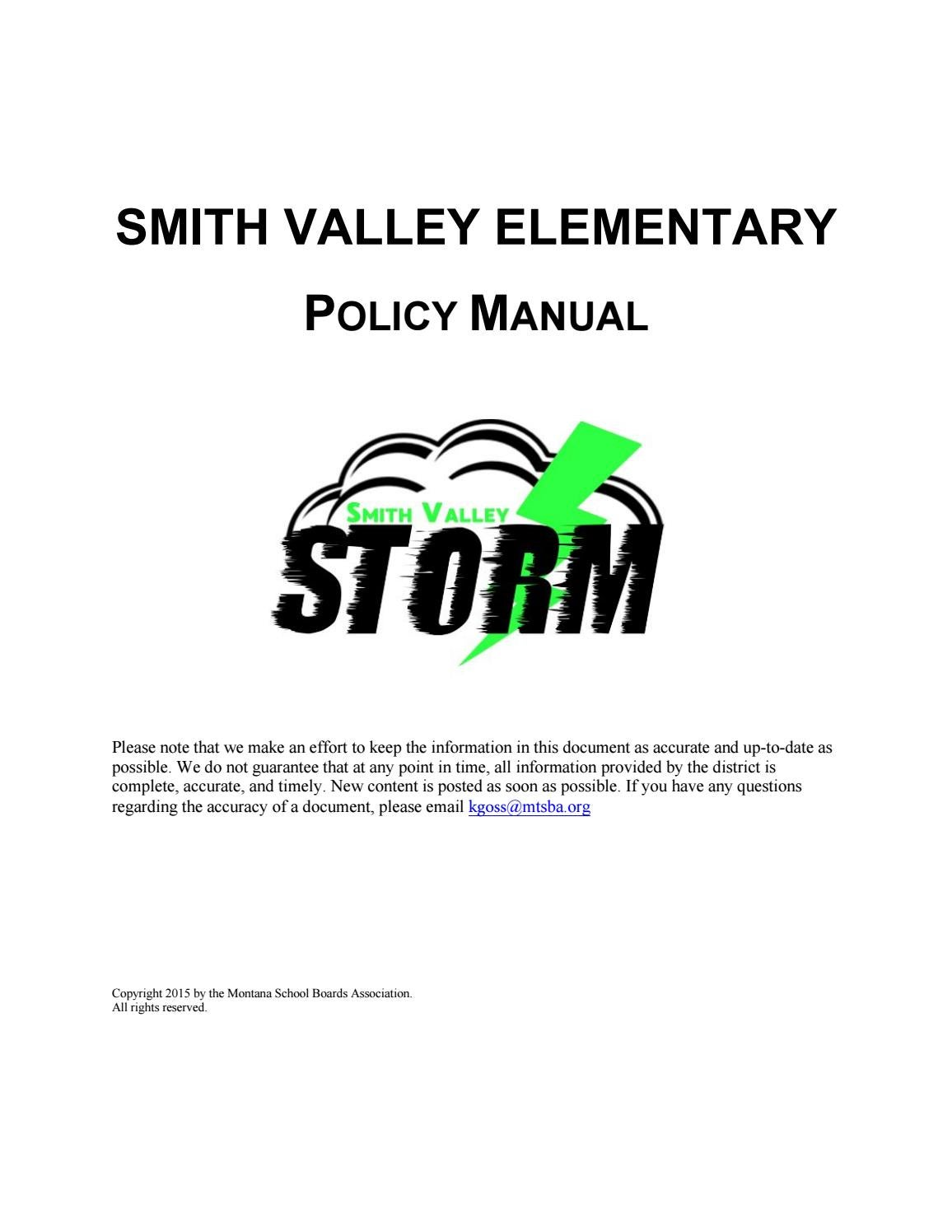 Smith Valley Elementary Policy Manual by Montana School