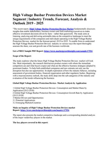 High Voltage Busbar Protection Devices Market Segment | Industry