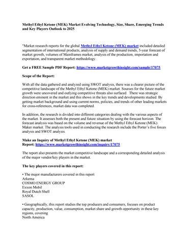 Methyl Ethyl Ketone (MEK) Market Evolving Technology, Size, Share
