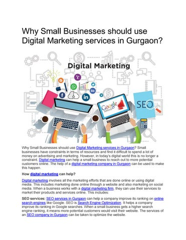 Why Small Businesses should use Digital Marketing services in Gurgaon?