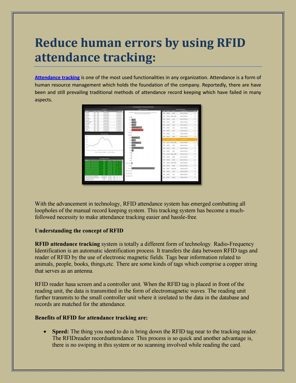 Reduce human errors by using RFID attendance tracking: by