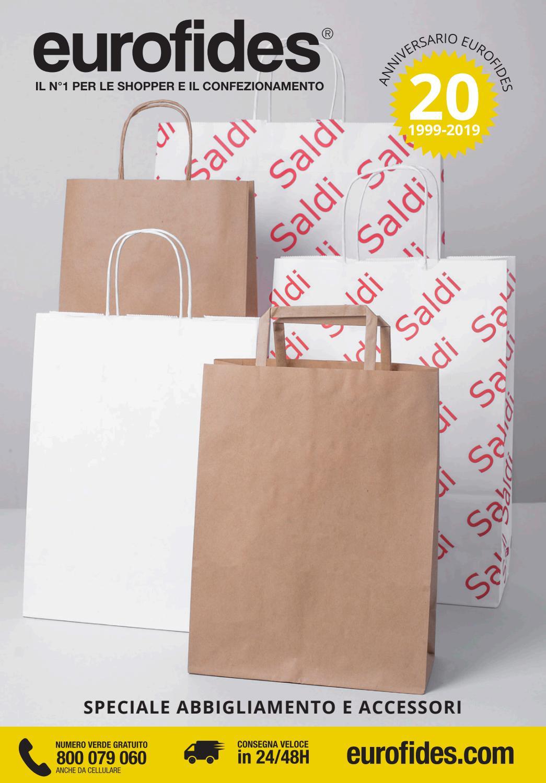 EUROFIDES/® 50 Shopper Carta Lusso Opaca Rosso cm.36+12x41 con manico in cotone