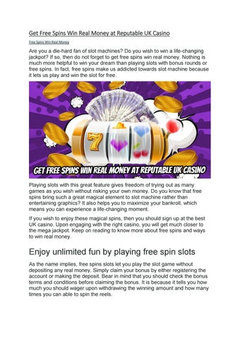 Get Free Spins Win Real Money At Reputable Uk Casino By Playleon