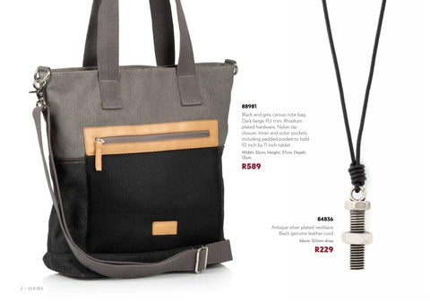 59d6e371fdba 88981 Black and grey canvas tote bag. Dark beige PU trim. Rhodium plated  hardware. Nylon zip closure. Inner and outer pockets including padded  pocket to ...