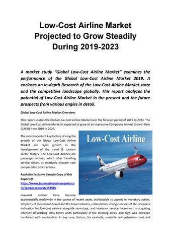 Global Low Cost Airline Market 2019 by businessreports26 - issuu