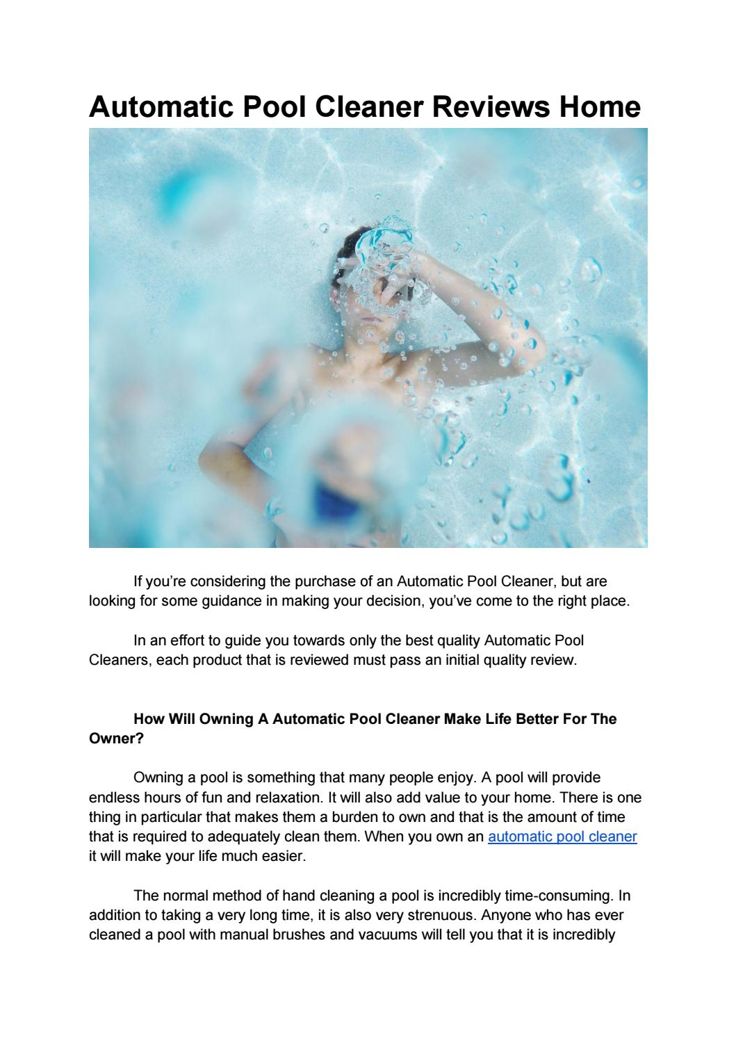 Automatic Pool Cleaner Reviews Home by Pool Cleaner - issuu