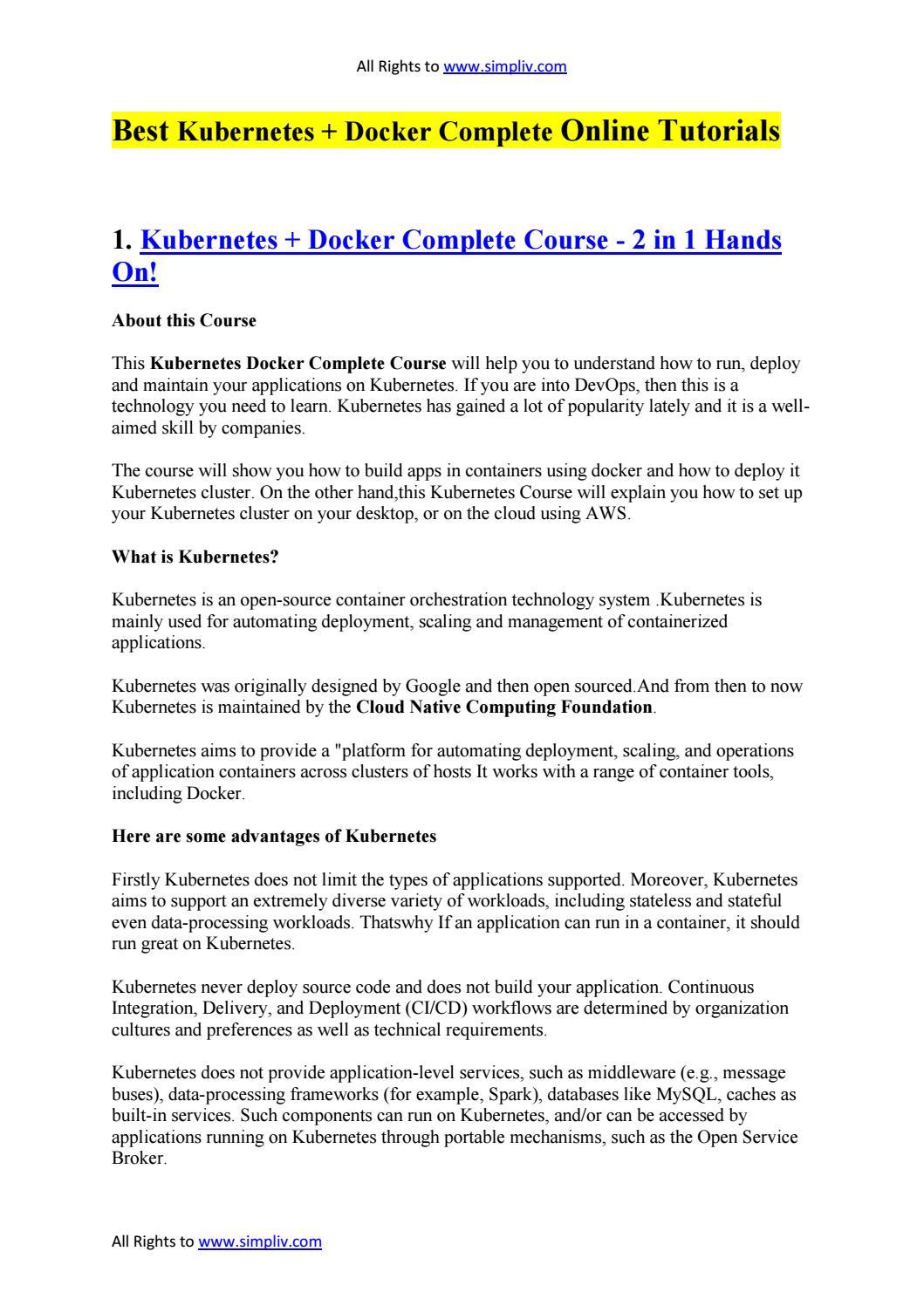 Best Kubernetes + Docker Complete Online Tutorials by