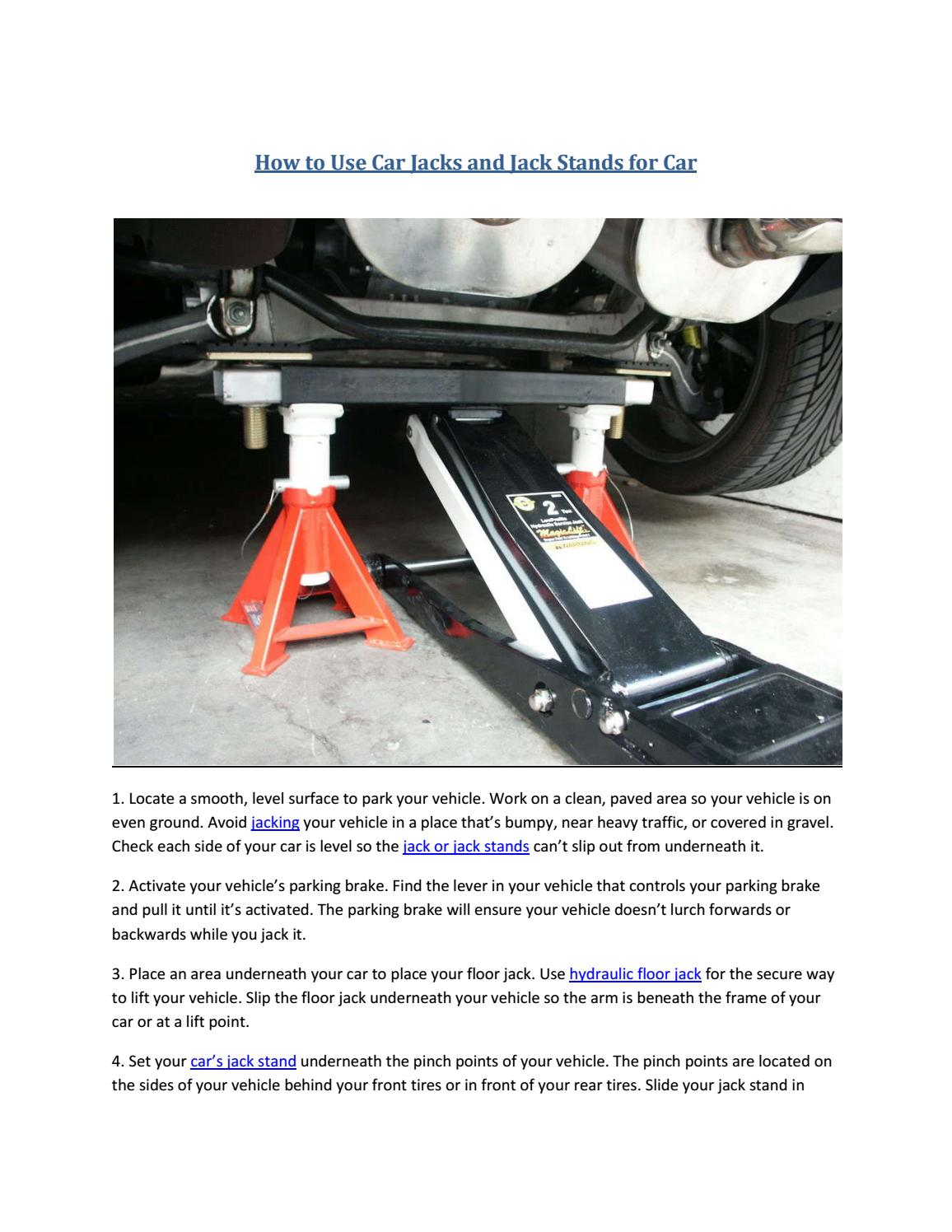 Partsavatar Car Parts Canada How To Use Car Jacks And Jack Stands
