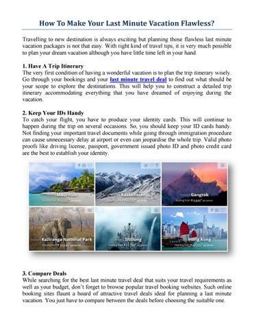 Last Minute Travel Get The Best Tips On Last Munute Travel Deals Cox Kings By Adanmatos12 Issuu