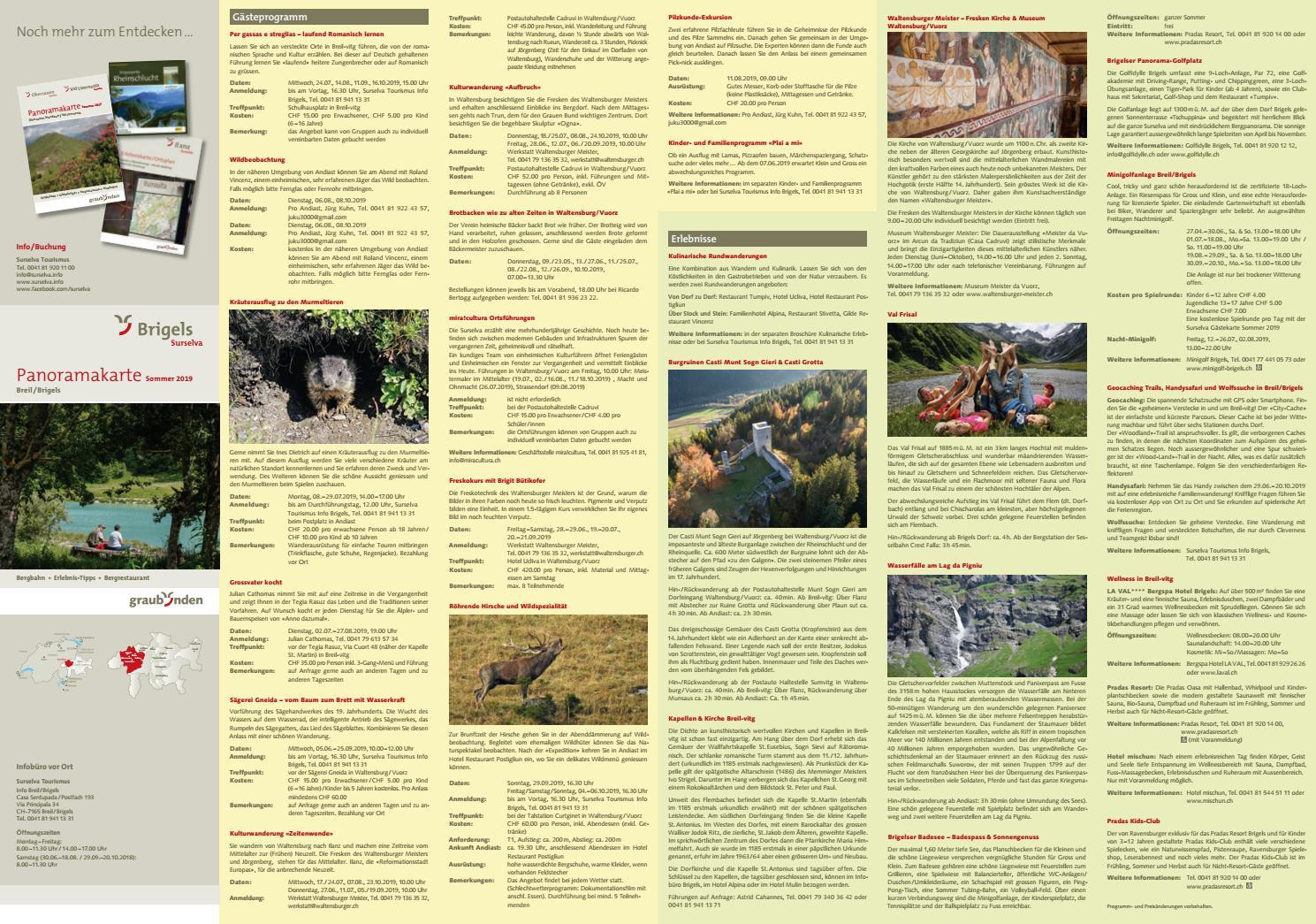 Sommer Panoramakarte BreilBrigels by Surselva Tourismus issuu