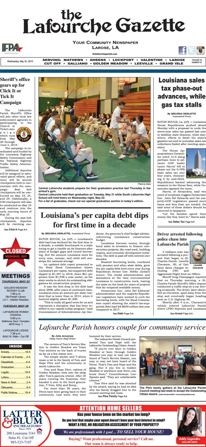 Wednesday/May 22, 2019/The Lafourche Gazette by The