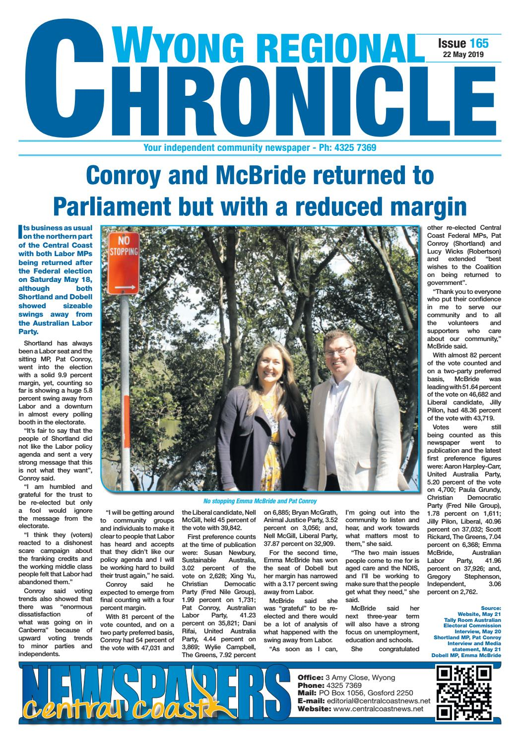 Issue 165 of Wyong Regional Chronicle by Central Coast Newspapers