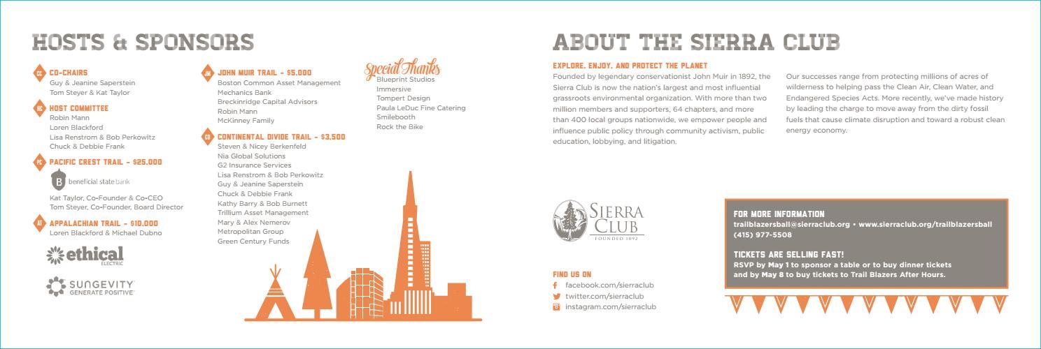 Sierra Club Trail Blazers Ball 2015 Invitation Insert by