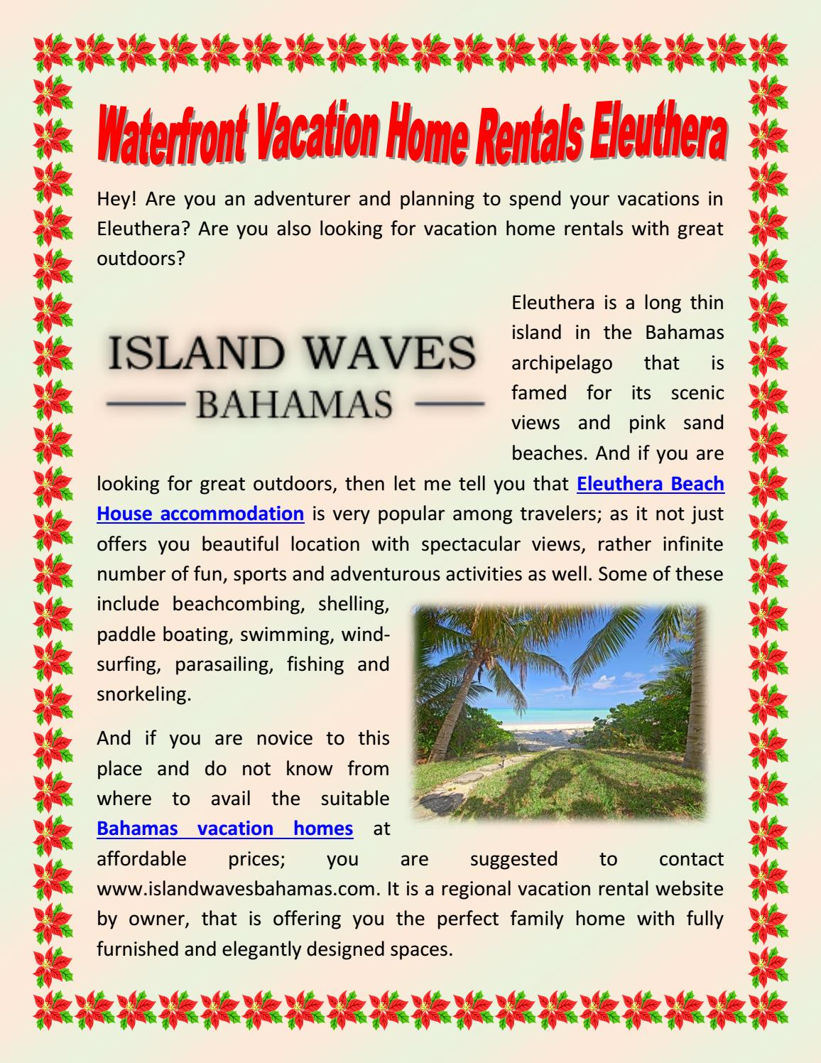 Waterfront Vacation home rentals Eleuthera