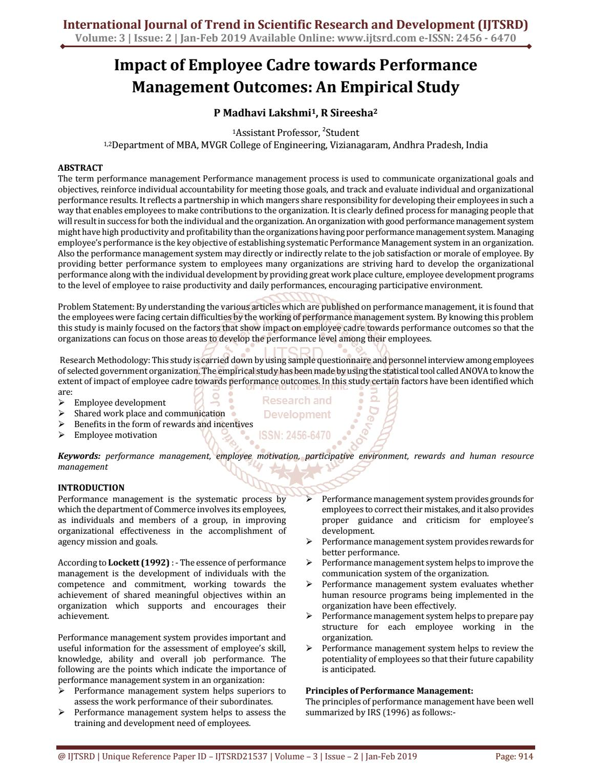 Impact Of Employee Cadre Towards Performance Management