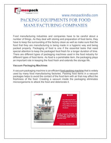 PACKING EQUIPMENTS FOR FOOD MANUFACTURING COMPANIES by