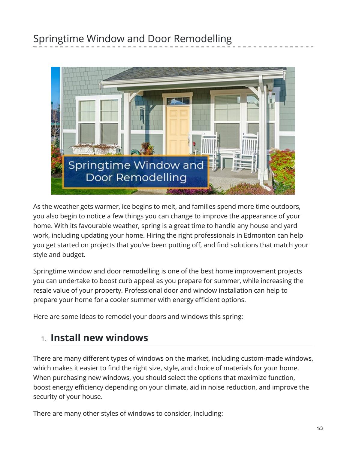 Springtime Windows And Door Remodelling By Kenneth Williams