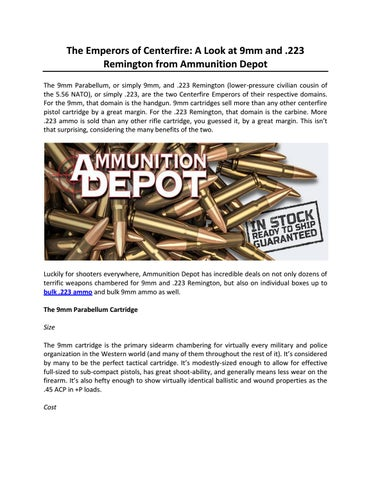 7de53212c0 The Emperors of Centerfire: A Look at 9mm and .223 Remington from  Ammunition Depot