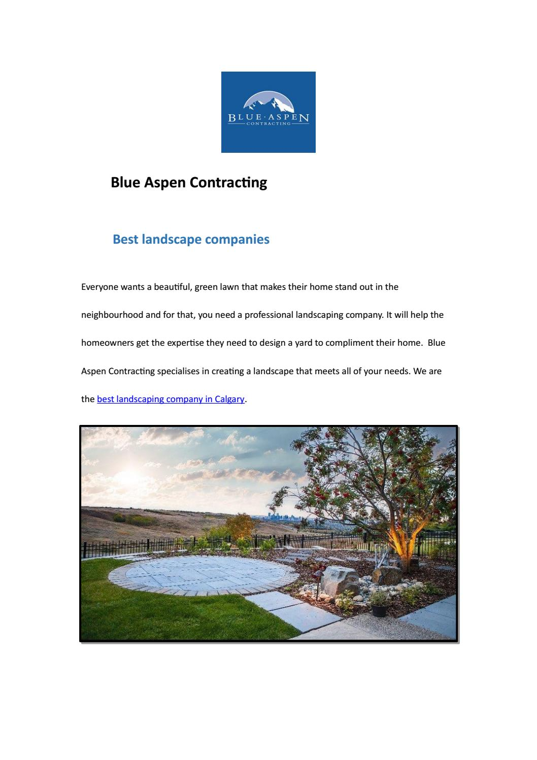 Best Landscape Companies By Blue Aspen Contracting Issuu