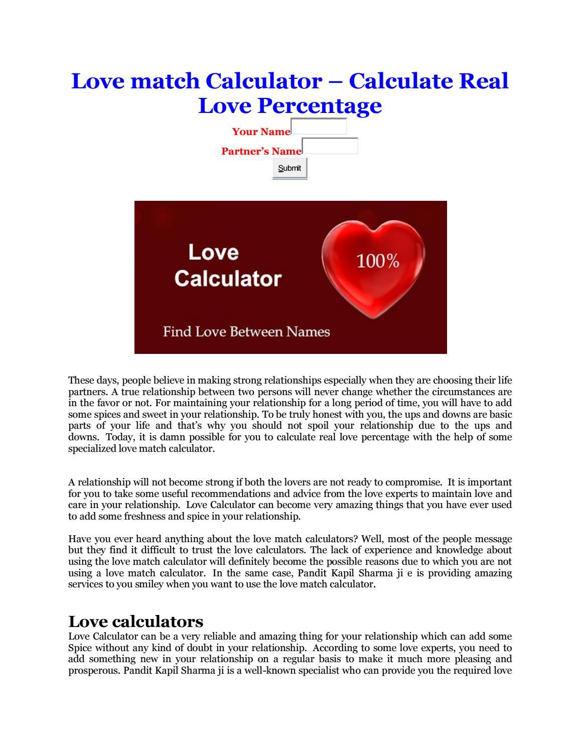 Love Match Calculator Calculate Real