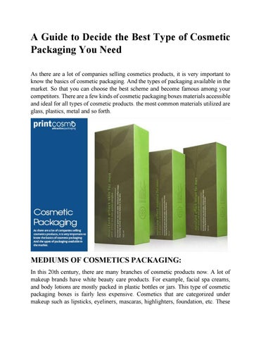 A Guide to Decide the Best Type of Cosmetic Packaging You