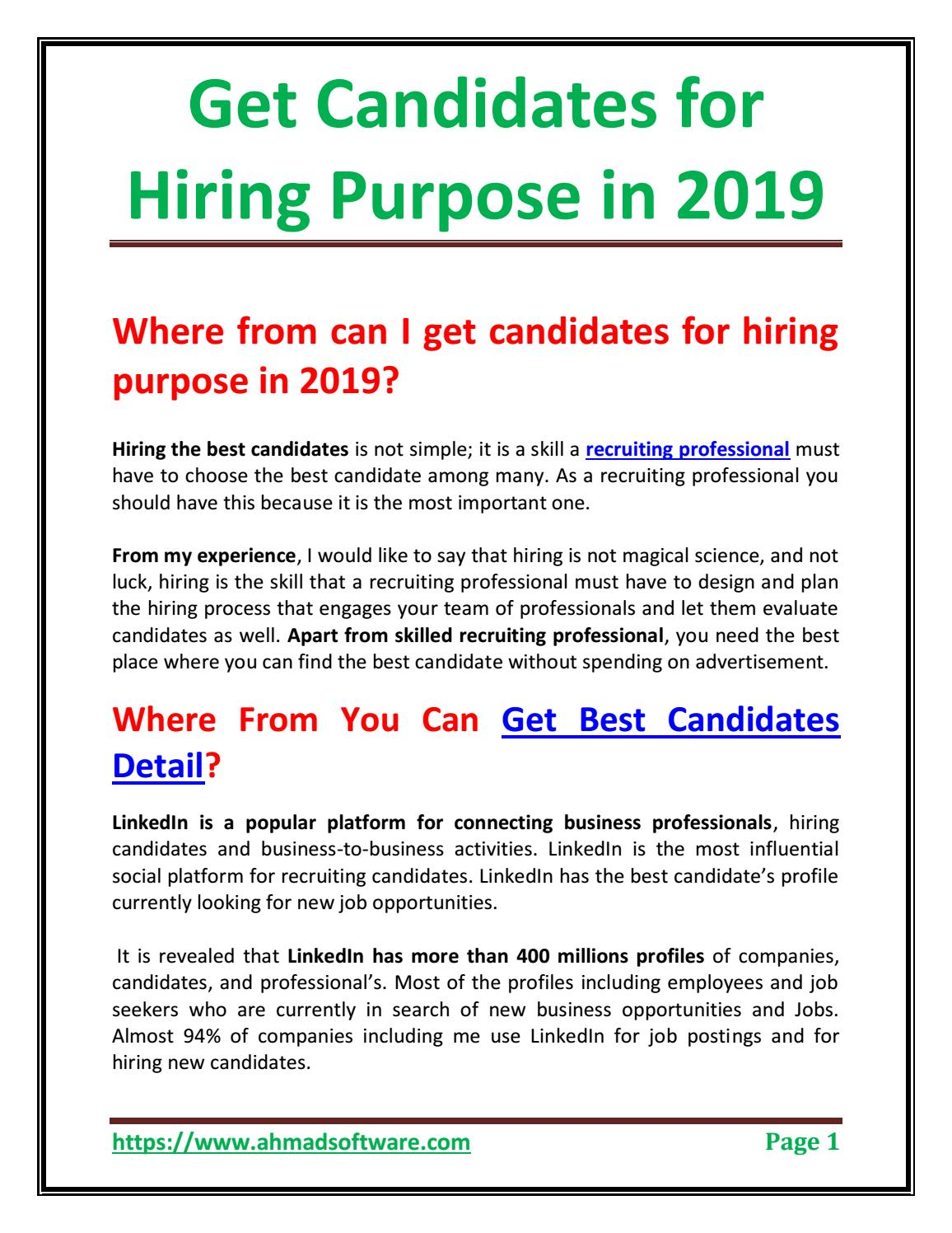 Get Candidates Detail for Hiring Purpose in 2019 by Ahmad