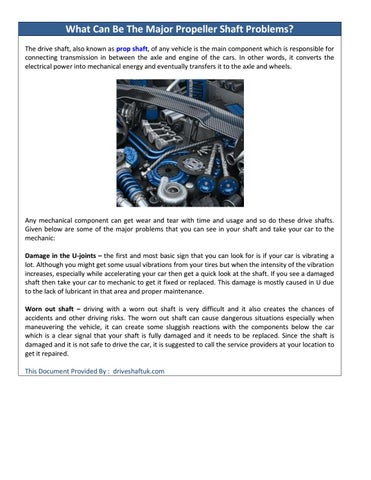 What Can Be The Major Propeller Shaft Problems By Bantina Mangua Issuu