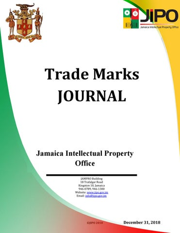 December 2018 TM Journal by Jamaica Intellectual Property