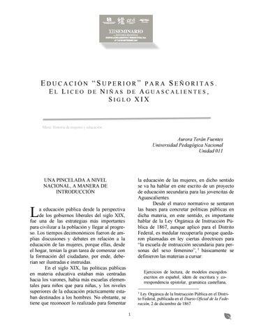 El Liceo De Niñas De Aguascalientes Siglo Xix By Boris Issuu