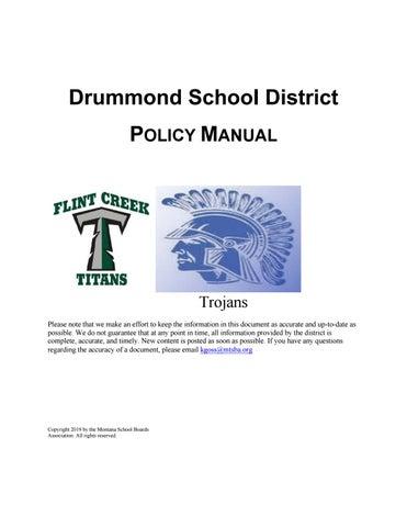 Drummond Public Schools Policy Manual by Montana School Boards