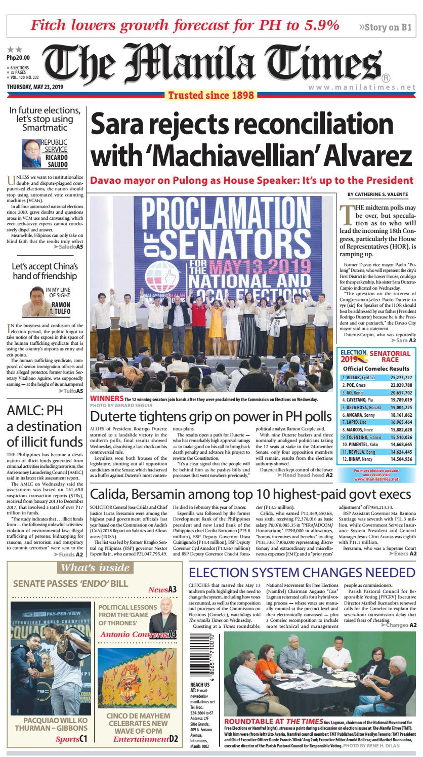 THE MANILA TIMES | MAY 23, 2019 by The Manila Times - issuu