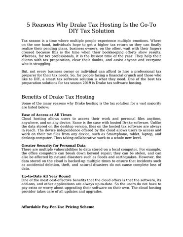 5 Reasons Why Drake Tax Hosting Is the Go-To DIY Tax Solution by