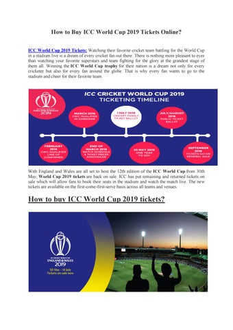 How To Buy Icc World Cup 2019 Tickets Online By