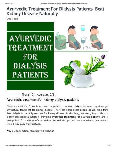 Ayurvedic treatment for dialysis patients beat kidney