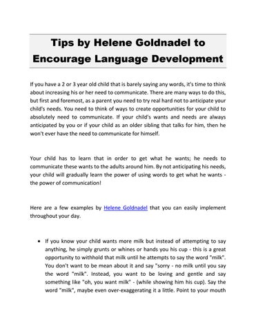 Tips by Helene Goldnadel to Encourage Language Development
