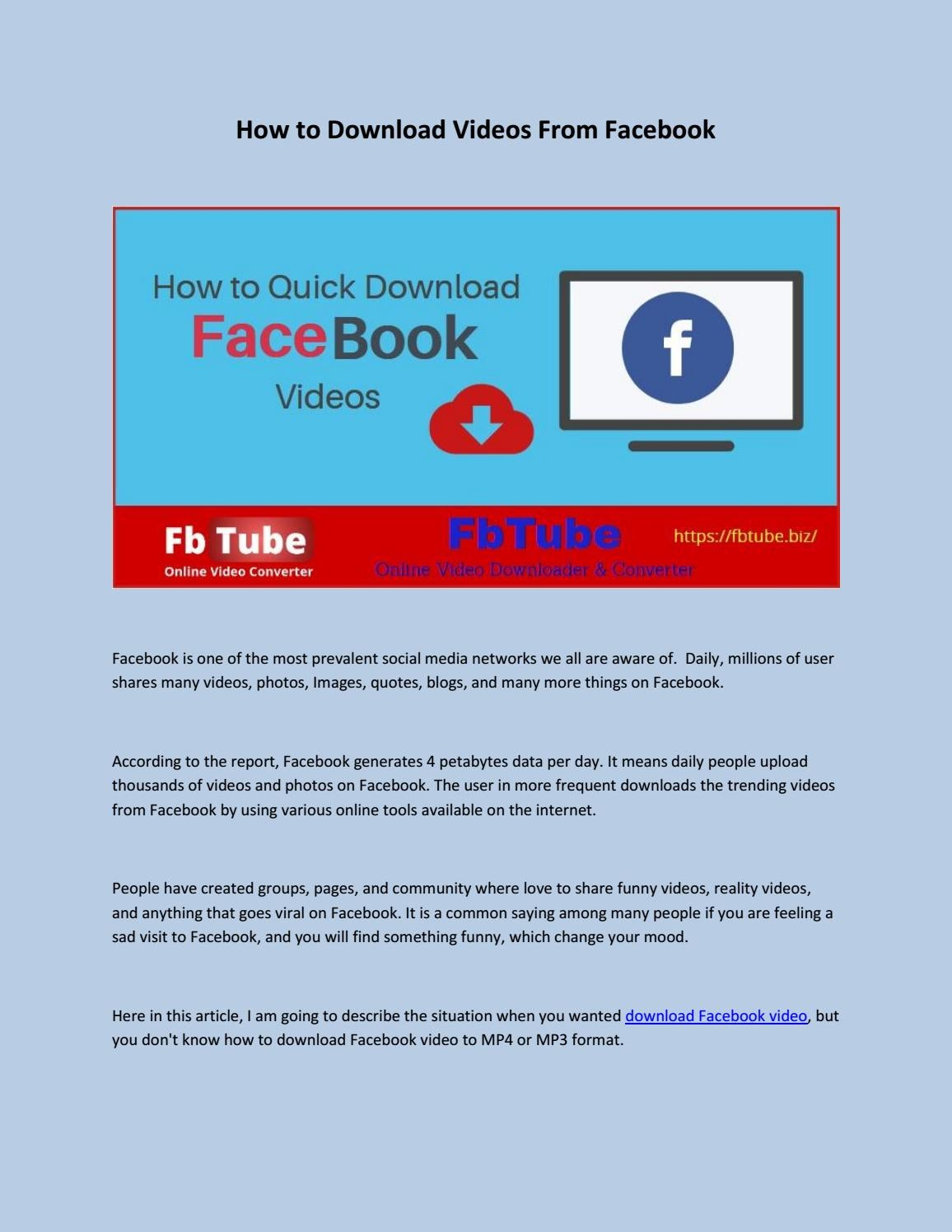 How to Download Videos From Facebook by YouTube2video - issuu