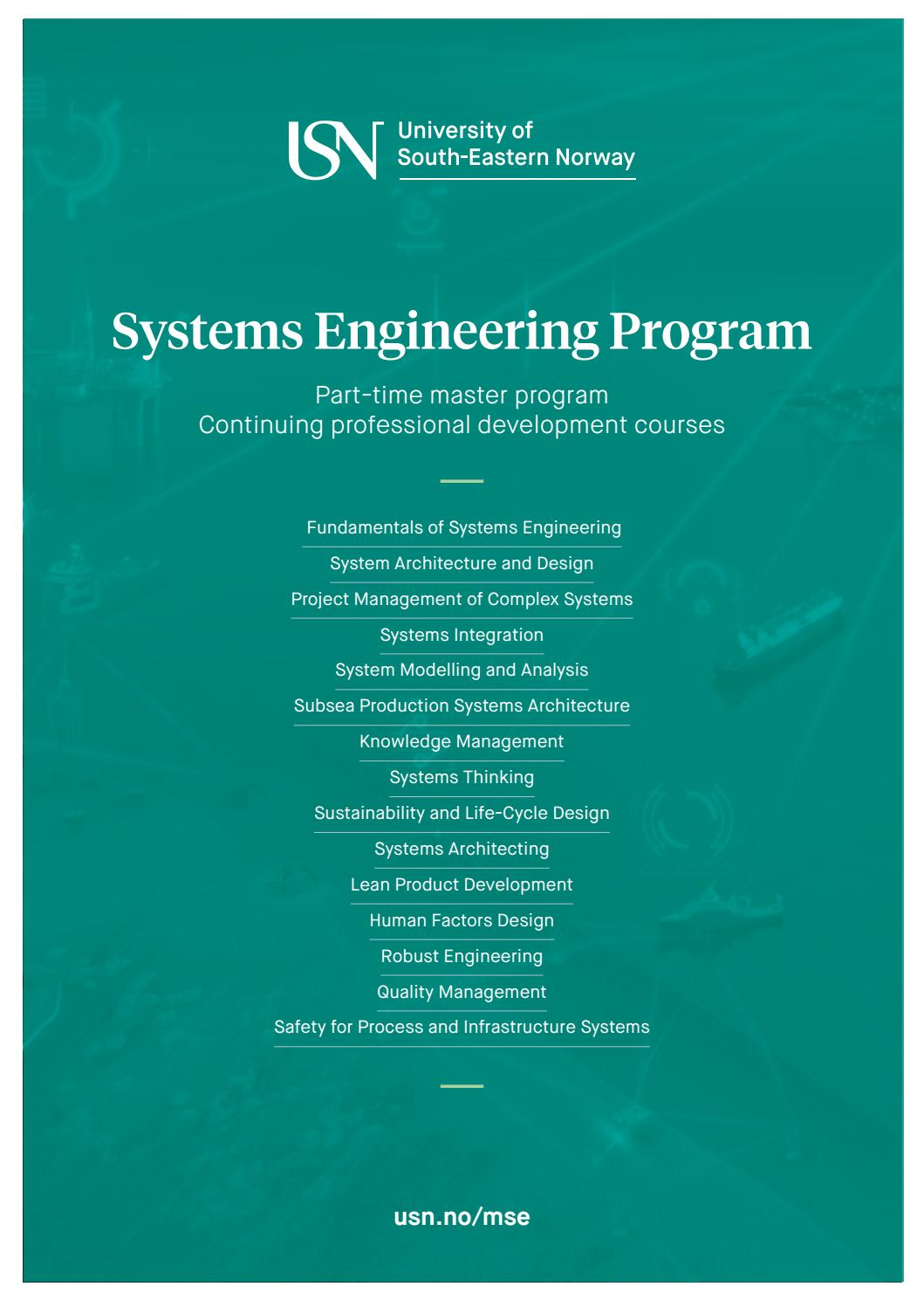 Systems Engineering Program And Courses By Universitetet I Sorost Norge Issuu