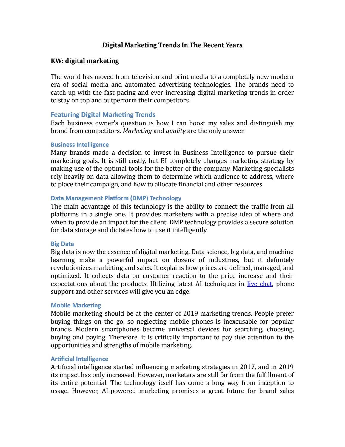 Digital Marketing Trends In The Recent Years by Talk Agent - issuu