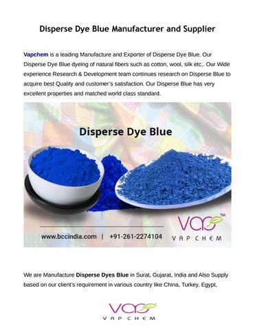 Manufacture dyes