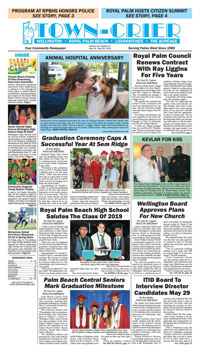 3b535723d43 Town-Crier Newspaper May 24, 2019 by Wellington The Magazine LLC - issuu