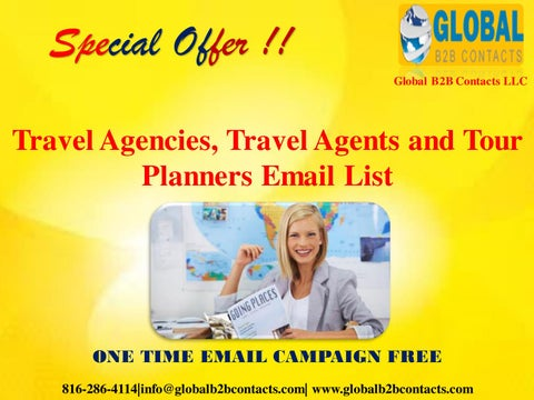 Travel Agencies, Travel Agents and Tour Planners Email List by