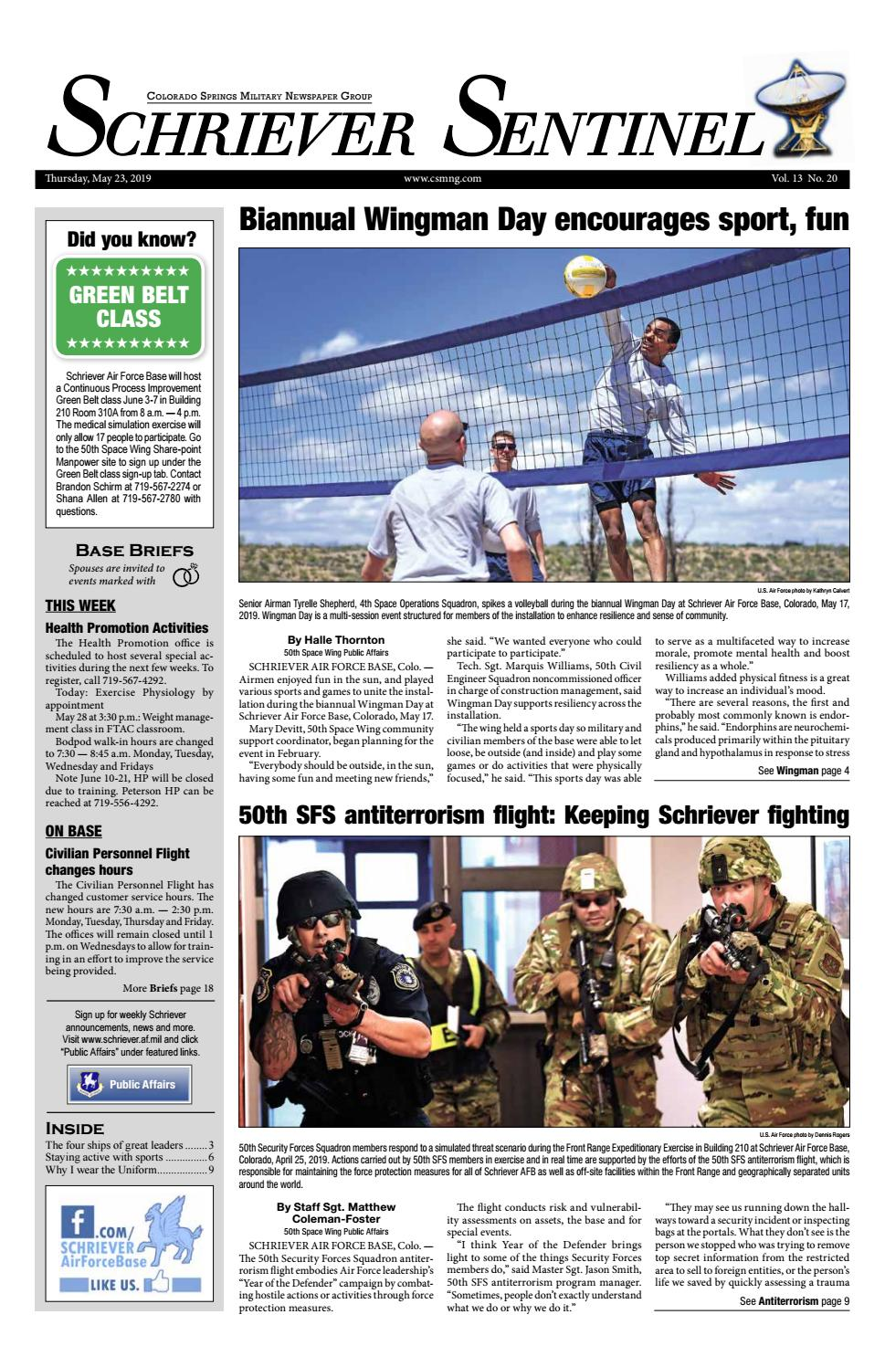 Schriever Sentinel May 23, 2019 by Colorado Springs Military