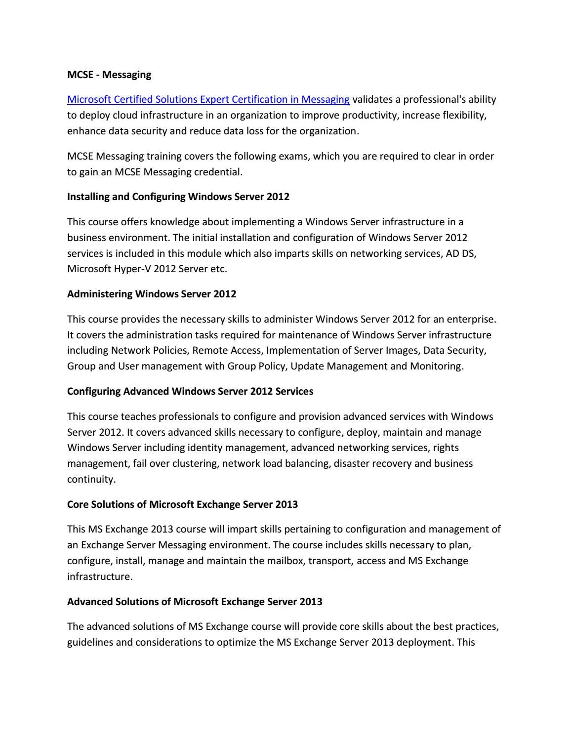 MCSE - Messaging by John peter - issuu