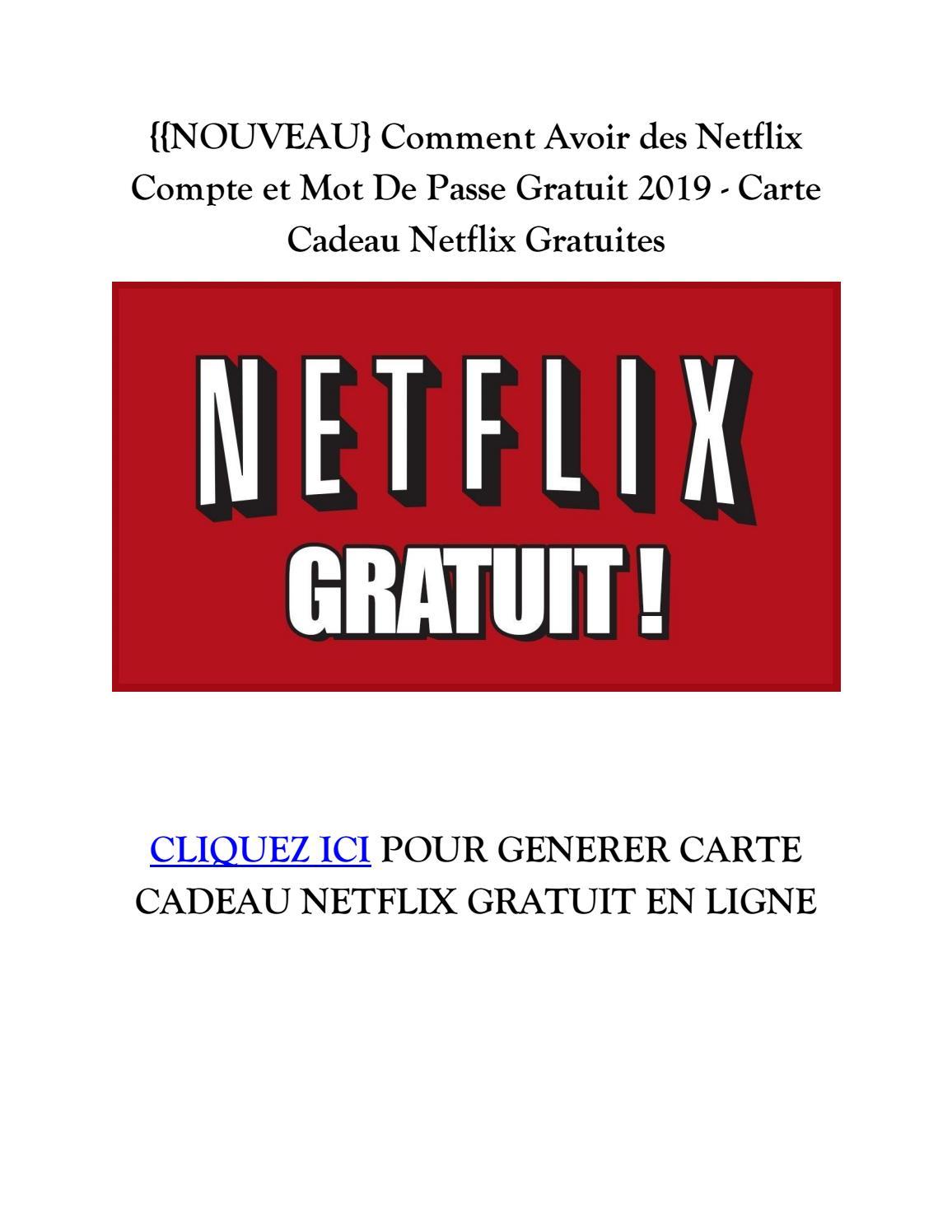 Carte Cadeau Netflix.Nouveau Netflix Comptes Gratuit 2019 Carte Cadeau